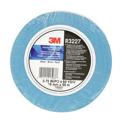 3M™ Repulpable Double Coated Tape R3227, Blue, 36 mm x 55 m, 3 mil, 24 rolls