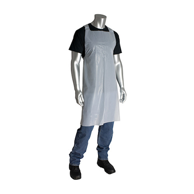 Disposable Extra-Long Tie Aprons, PE, White, 28 in x 46 in, 100 aprons