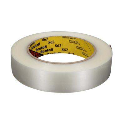 Scotch® 862 Reinforced Strapping Tape, Clear, 12 mm x 55 m, 4.6 mil, 72 rolls