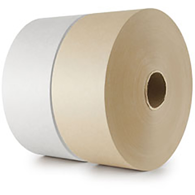 Central® Printed Light Duty Water-Activated Paper Tape -  Just Meats - 1in x 500ft, White with Brown Print, 30/Case