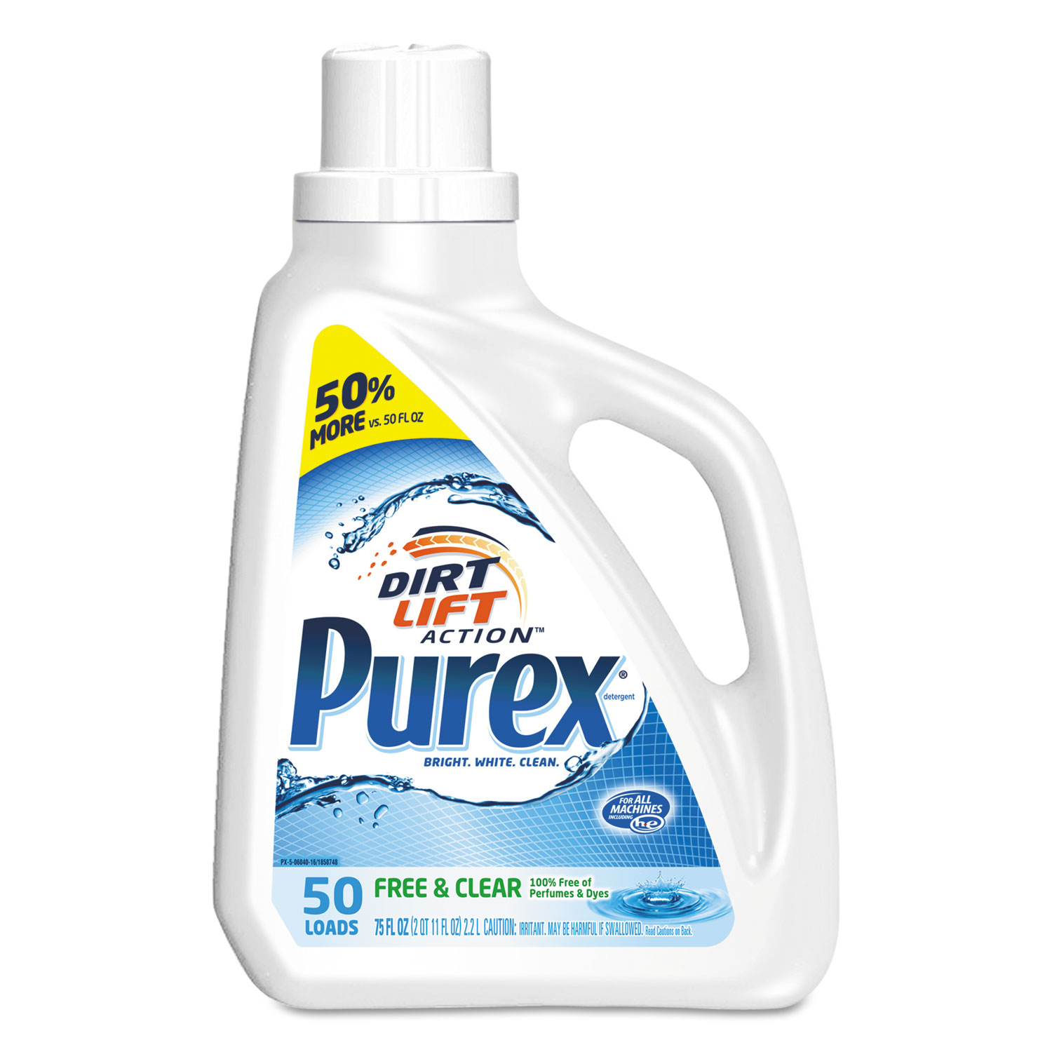 Purex Free and Clear Liquid Laundry Detergent - Unscented, 75 oz, 6/Case