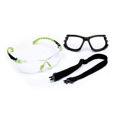 3M™ Solus™ 1000-Series Safety Glasses Kit, Green/Black, Clear Scotchgard™ Anti-Fog Lens, 1 kit