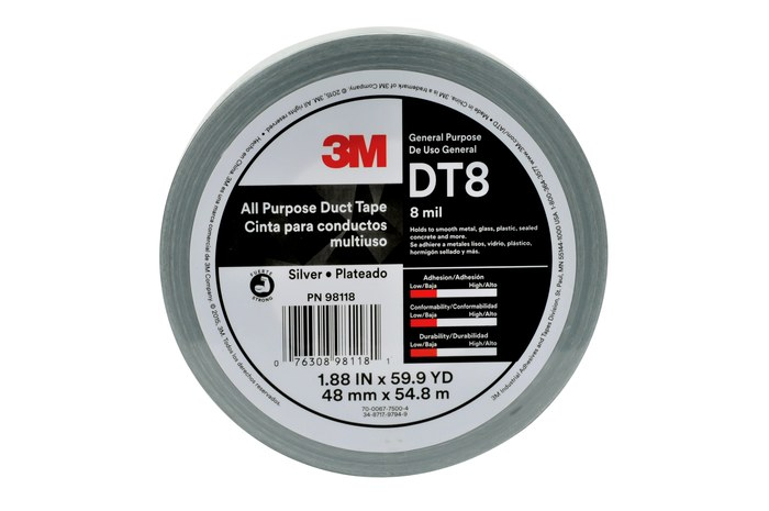 3M DT8 Silver Duct Tape - 48 MM X 54.8 M, 8 Mil, 24/Cs