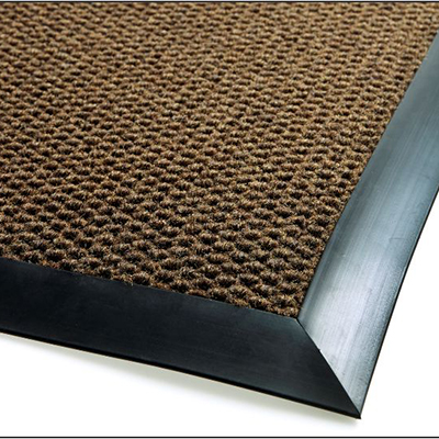 Berber Roll Goods Mat with Nosing - Charcoal, 4' x 4', 3/8""
