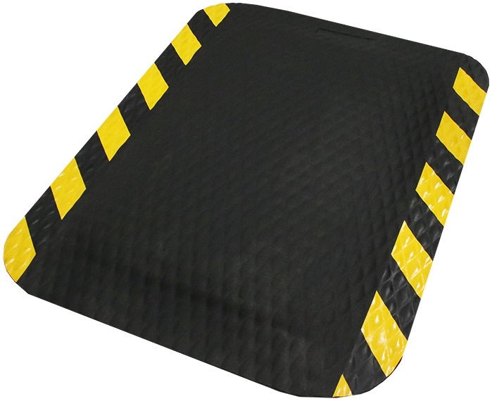 Hog Heaven Anti-Fatigue Indoor Mat - Black, Yellow Border, 4' x 6', 7/8""