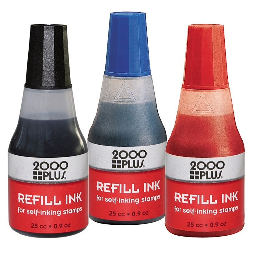 2000 Plus® Self-Inking Refill Kit - Red, 0.9 oz Bottle