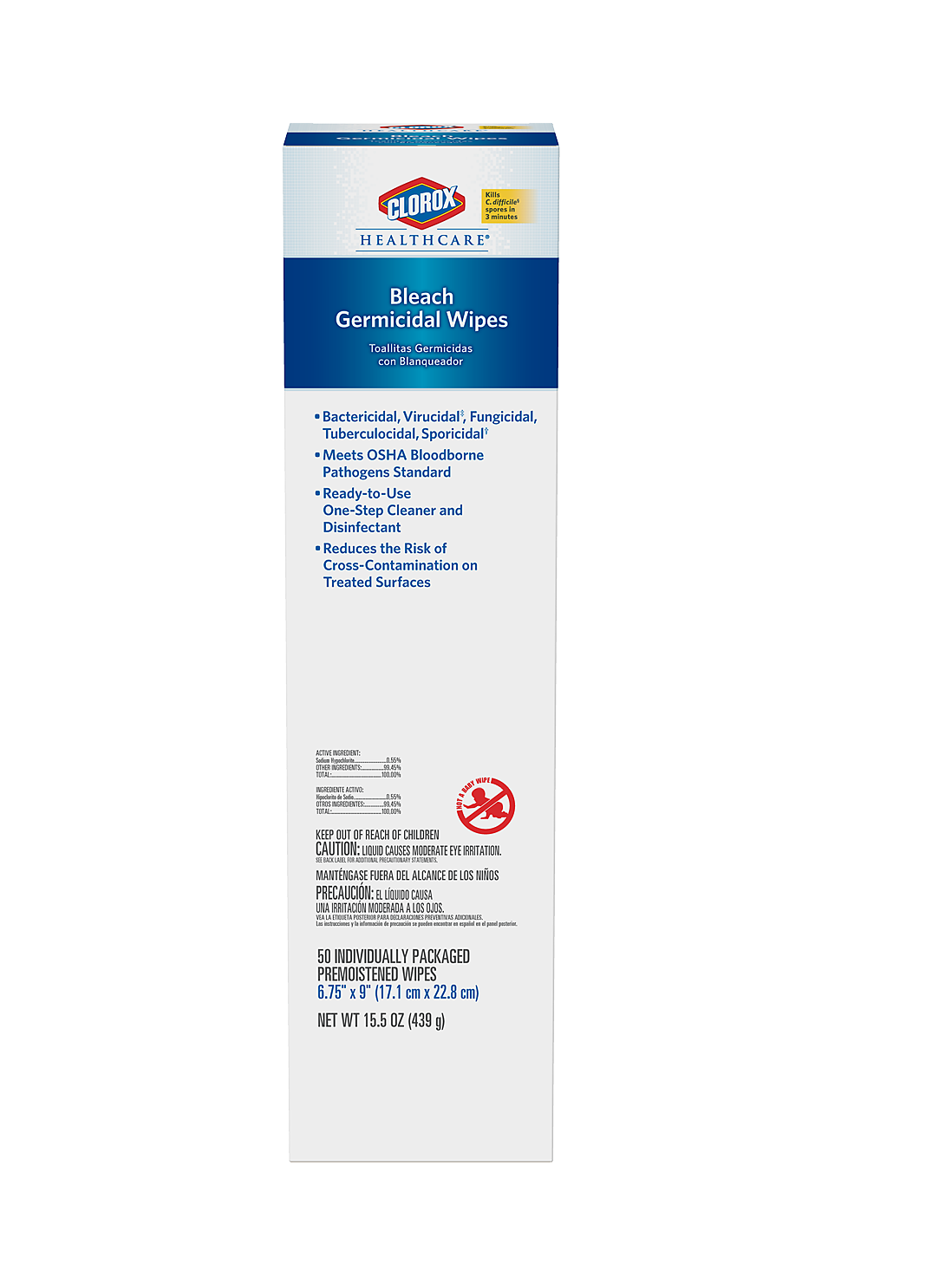 Clorox Healthcare® Bleach Germicidal Wipes - Multi-Purpose Wipes Individual Packets 50 ct, 6/Case