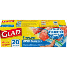 Glad® Freezer Zipper Bags - 20 count, Quart