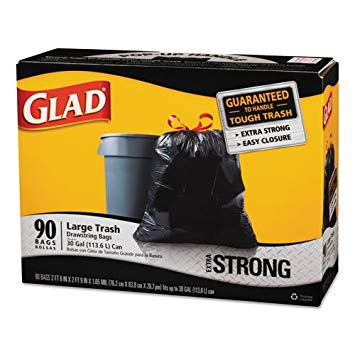 Drawstring Trash Bags, 30 x 33, 30gal, 1.1mil, Black, 90/Case