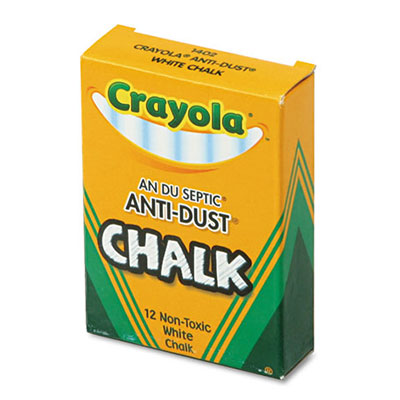 Crayola® Nontoxic Anti-Dust Chalk - White, 12 sticks