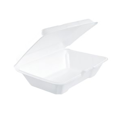 Performer® Insulated Foam Container with Hinged Lid - Medium, White