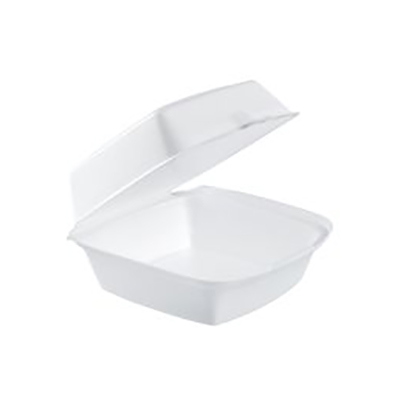 Dart® Foam Sandwich Container with Hinged Lid - 6in Large, White