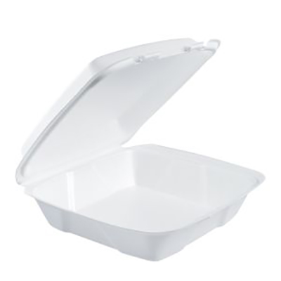 Dart® Foam Container with Hinged Lid - Large, White, Reduced Cube
