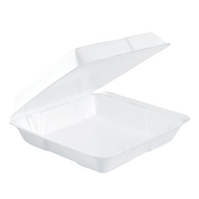 Dart® Insulated Foam Container with Hinged Lid - Large, White