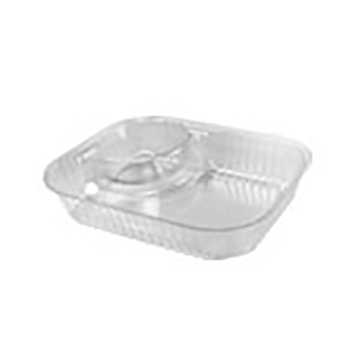 ClearPac® Plastic 2-Compartment Nacho Container - Large, Clear