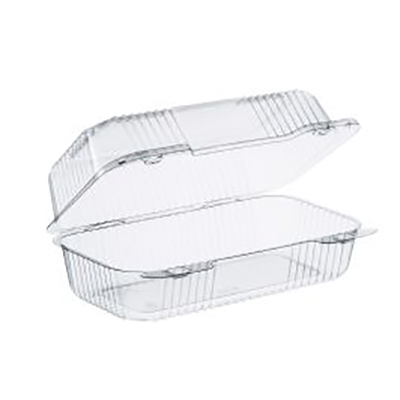 StayLock® PET Oblong Container with Hinged Lid - 9in Medium, Clear