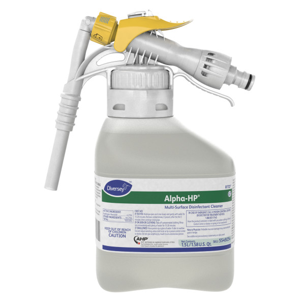 Diversey Alpha-HP Multi-Surface Disinfectant Cleaner - 1.5L, RTD, 2/Case