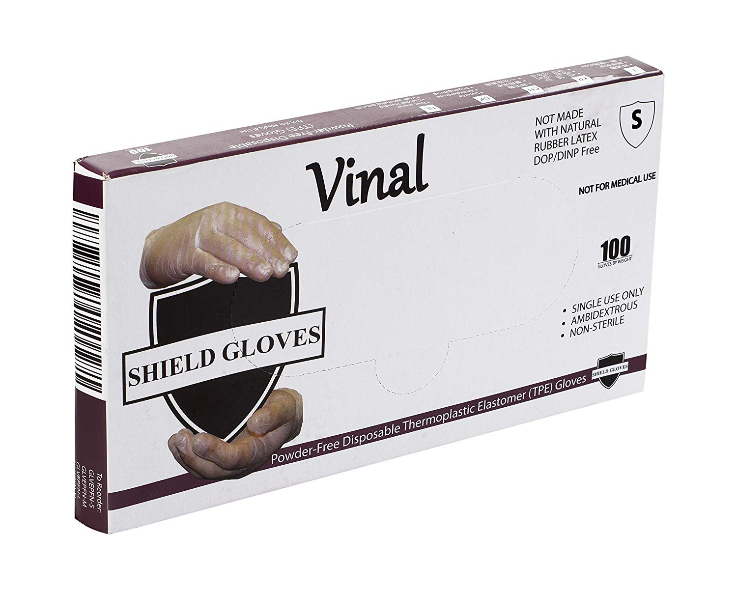 Stretch Vinal Non Examination Shield Gloves, Powder-Free, Clear - Small, 1.5 mil