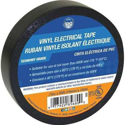IPG Economy Grade Vinyl Electrical Tape - .75in x 60ft x 7mil, Black