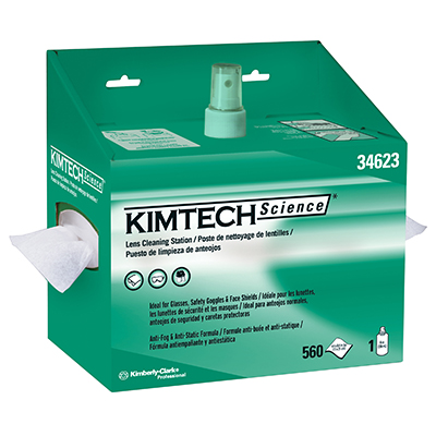 Kimtech Science® Lens Cleaning Station, Pop-Up Box with Tissues and Spray, 4 boxes