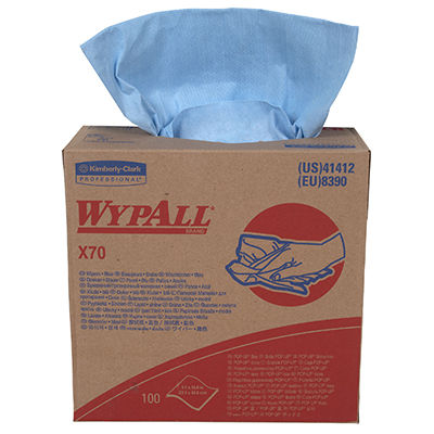 WypAll* X70 Wipers - 9.1in x 16.8in, Blue, Boxed