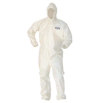 Kleenguard® A80 Chemical Permeation and Jet Liquid Protection Coveralls, White, 2XL, 10 suits