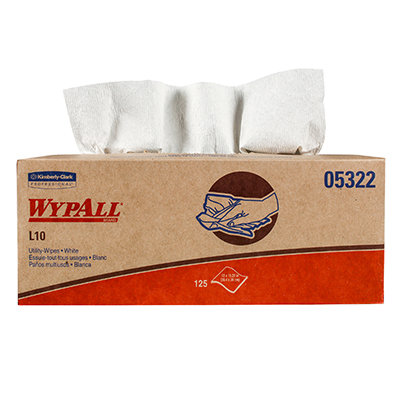 WypAll* L10 Utility Wipers - 12in x 10.25, White, Boxed