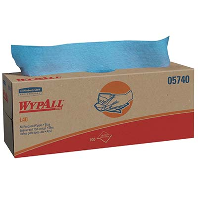 WypAll* L40 Wipers - 16.4in x 9.8in, Blue, Boxed