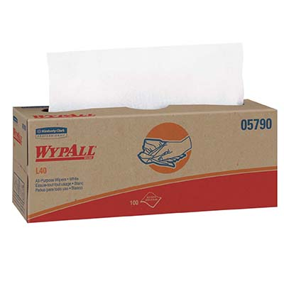 WypAll* L40 Wipers - 16.4in x 9.8in, White, Boxed