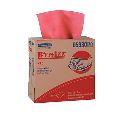 WypAll* X80 Wipers - 9.1in x 16.8in, Red, Box