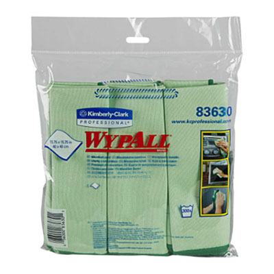 WypAll® Green Microfiber Cloths with Microban®, 15.75 in, 24 cloths