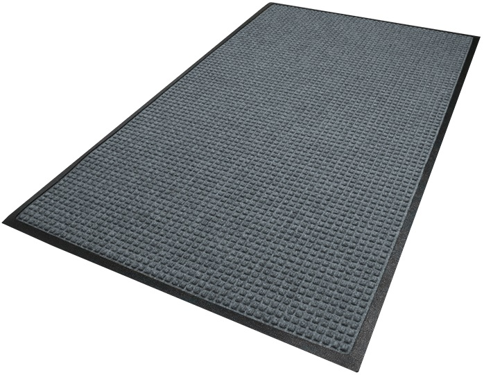 WaterHog Entrance Mat - Fashion Border, Charcoal Black, 6' x 20', Smooth Backing