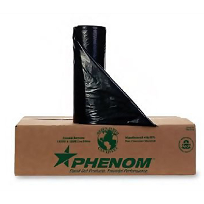 Phenom™ Heavy-Duty Can Liners - 33 gallons, 0.8mil, Black, Folded