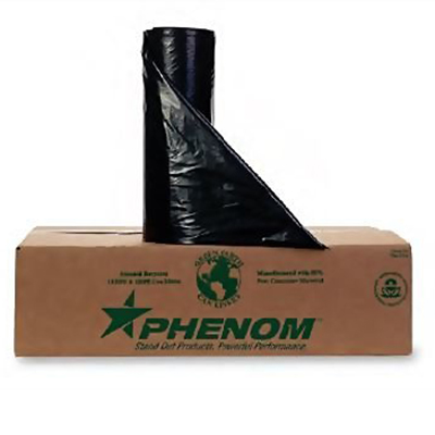 Phenom™ Heavy-Duty Can Liners - 55 gallons, 0.8mil, Black, Folded