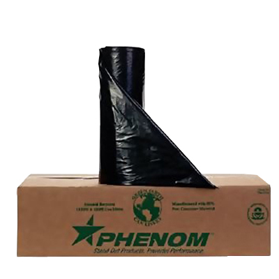 Phenom™ Premium HDPE Can Liners - 45 gallons, 12mic, Black