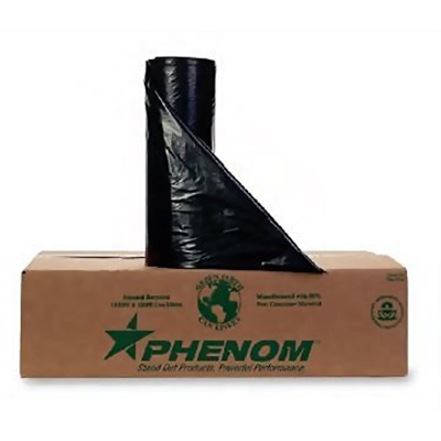 Phenom™ Premium HDPE Can Liners - 12 to 16 gallons, 8mic, Black