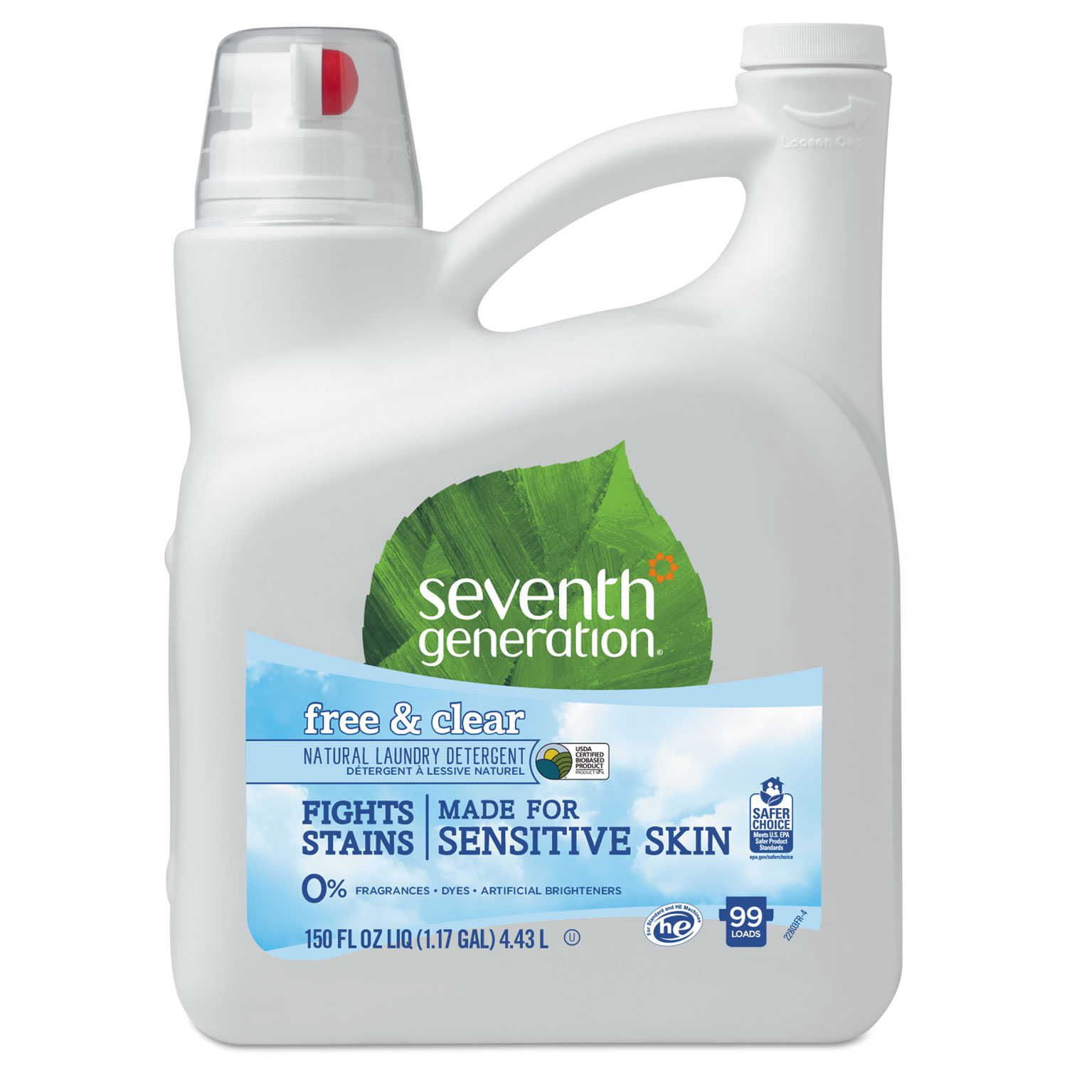 Seventh Generation Natural 2X Concentrate Liquid Laundry Detergent - Free and Clear, 150 oz, 4/Case