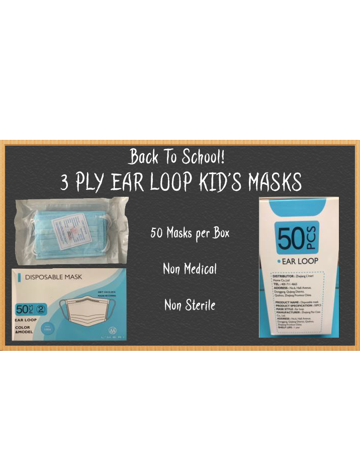 3 Ply Ear Loop Kid's Masks